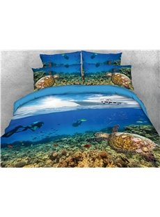 Turtle and Cruise Ship Printing Blue Printing 3D 4-Piece Bedding Sets/Duvet Covers