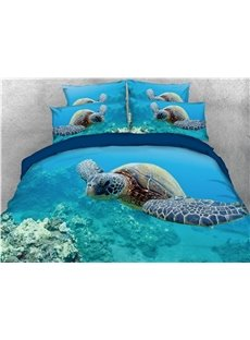 Turtle and Azure Sea Printing Cotton 3D 4-Piece Bedding Sets/Duvet Covers