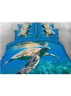 Turtle and Blue Sea Water Printing 3D 4-Piece Bedding Sets/Duvet Covers