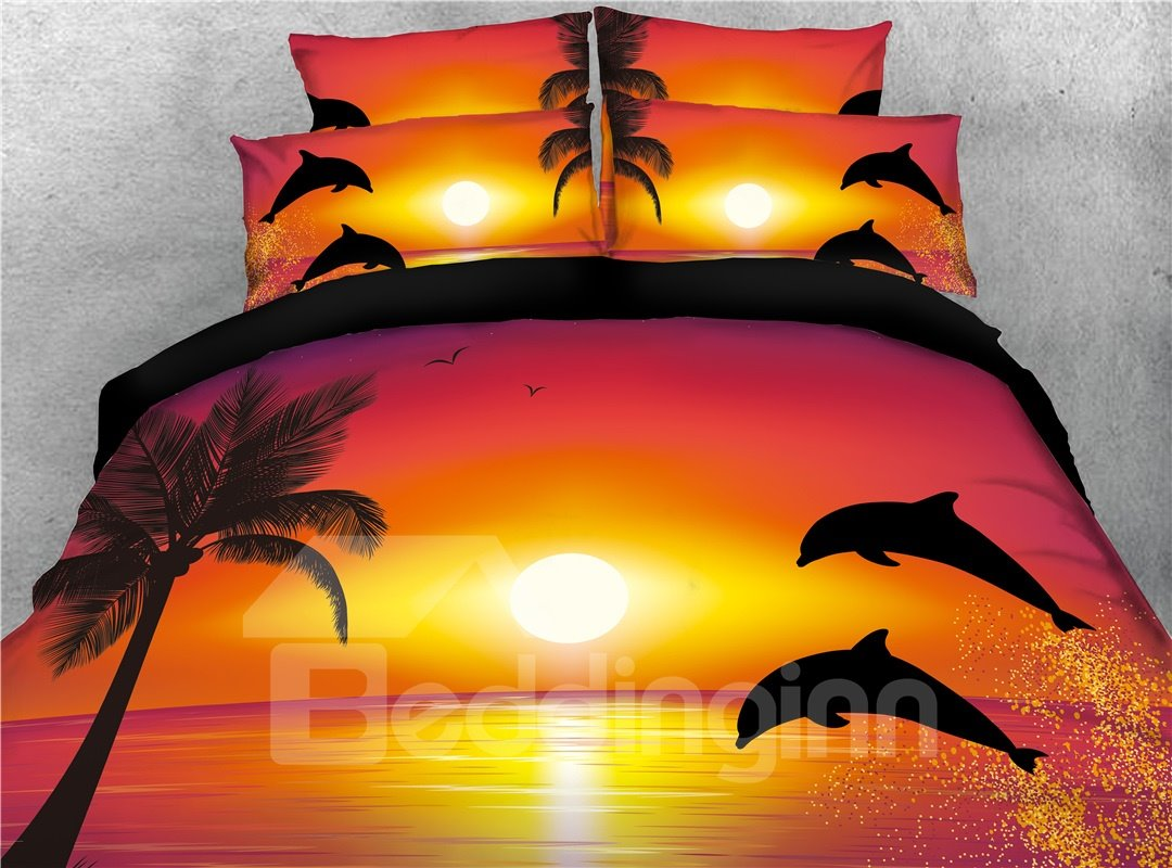 Jumping Dolphins at the Setting Sun Printing Cotton 4-Piece Bedding Sets/Duvet Covers