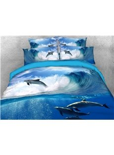 Dolphins and Blue Sea Water Printing Cotton 4-Piece 3D Bedding Sets/Duvet Covers