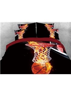 Shoot the Basket with Fire Printing Cotton 4-Piece 3D Bedding Sets/Duvet Covers