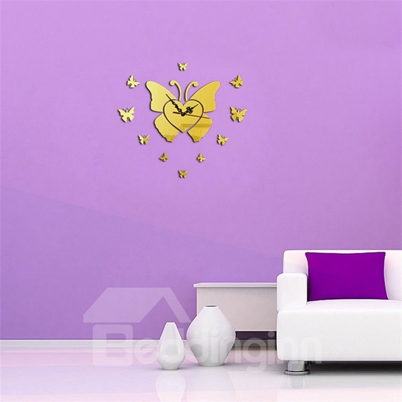 Beautiful Butterfly Pattern 3 Color Simple Design 3D Acrylic Specular Mute Wall Clock