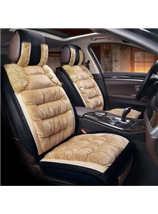 Beige Green Well-made Flannel Warm Lambswool Winter Universal Car Seat Covers