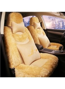 Soft Material Warm Beige&Black Fluffy Universal Car Seat Covers
