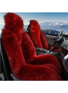 Red Full Lambswool Material 3D Shape Design Super Warm Winter Universal Car Seat Covers
