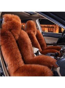 Brown Ultimate Warm Lambswool Material Winter Universal Car Seat Covers