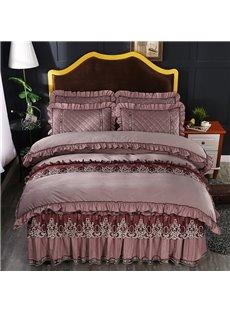 Khaki Simple Square Pattern Crystal Velvet Lace Bed Skirt