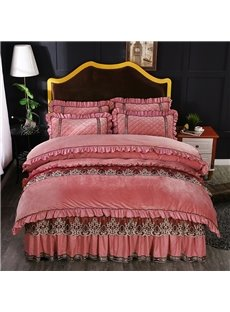 Light Pink Simple Square Style Lace Crystal Velvet Bed Skirt