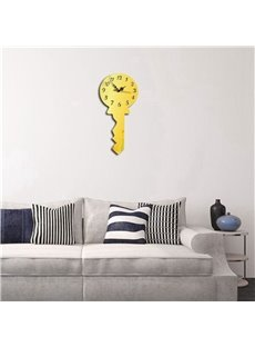 Creative Key Shape 3 Color Simple Design 3D Acrylic DIY Specular Mute Wall Clock