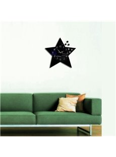 Creative Star Shape 3 Color Simple Design 3D Acrylic DIY Specular Mute Wall Clock