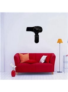 Funny Hair Dryer 3 Color Simple Design 3D Acrylic DIY Specular Mute Wall Clock