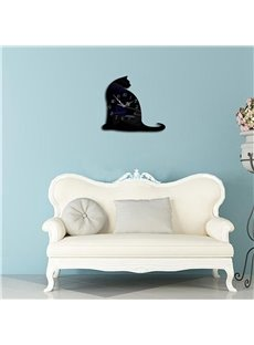 Cute Cat Shape 3 Color Simple Design 3D Acrylic DIY Specular Mute Wall Clock