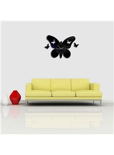 Creative Butterfly Shape 3 Color Simple Design 3D Acrylic DIY Specular Mute Wall Clock