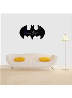 Abstract Bat Shape 3 Color Simple Design 3D Acrylic DIY Specular Mute Wall Clock