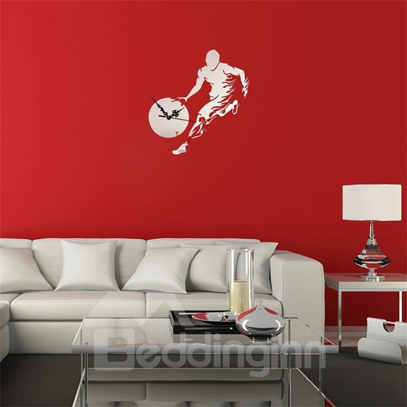 Funny Basketball Player 3 Color Simple Design 3D Acrylic DIY Specular Mute Wall Clock