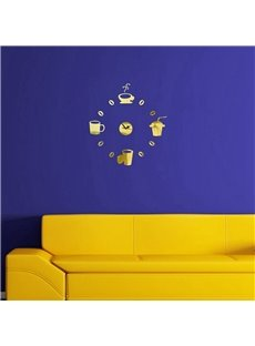 Creative Cup Pattern 3 Color Simple Design 3D Acrylic DIY Specular Mute Wall Clock