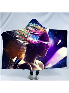 A Person and Colorful Light 3D Printing Polyester Hooded Blanket