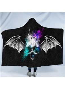 Grey Skull with Wings Printing Polyester Hooded Blanket