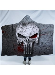 Horrible Grey Skull Printing Polyester Soft Hooded Blanket