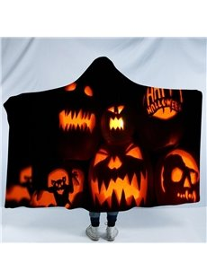 Orange Pumpkin Lantern Black Printing Polyester Hooded Blanket