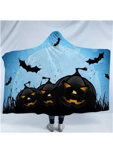Black Pumpkin and Bats Halloween Printing Polyester Hooded Blanket