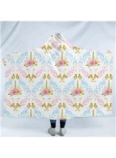 Cartoon Golden Unicorn and Flower Printing Polyester Hooded Blanket