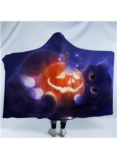 Blue Cat and Pumpkin Lantern Halloween Printing Polyester Hooded Blanket