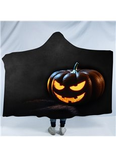 Halloween Orange Smiling Pumpkin Lantern Printing Polyester Hooded Blanket