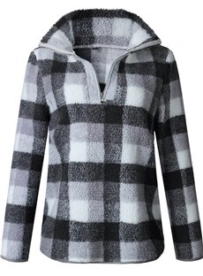 Plaid Long Sleeve High Collar Zipper Pullover Print Hoodie