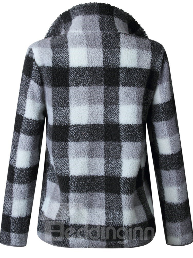 Plaid Long Sleeve High Collar Zipper Pullover Print Hoodie