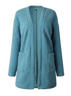 Cardigan Pocket Long Sleeve V-Neck Slim Model Coat