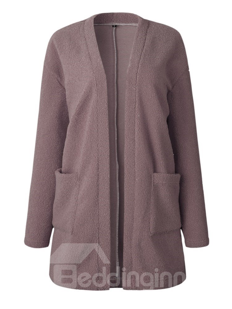 Cardigan Pocket Long Sleeve V-Neck Slim Model Coat