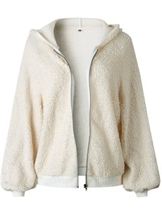 Hooded Zipper Cardigan Loose Model Pure Color Jacket