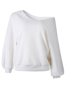 Round Neck Long Sleeve Off-The-Shoulder Thick Coat