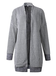 Plaid Cardigan Street Style Thicken Round Neck Coat