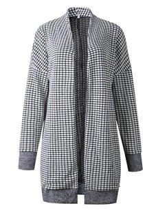 Plaid Cardigan Street Style Thicken Round Neck Coat