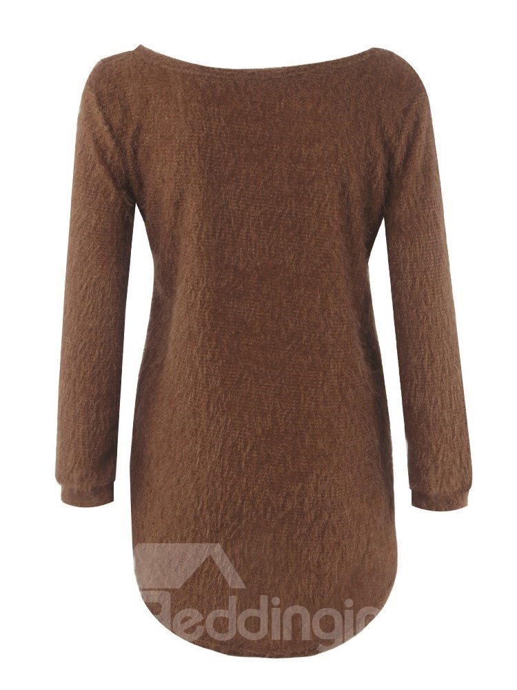 Pure Color Long Sleeve Loose Model Round Neck Coat