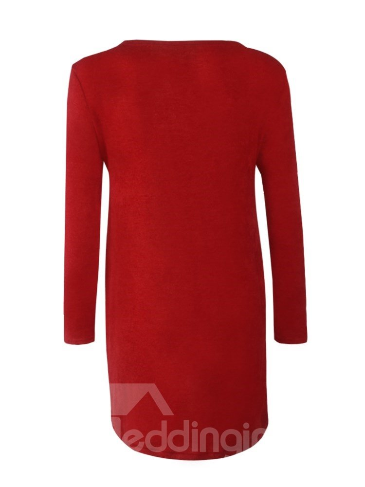 Casual Style Loose Model Zipper Pure Color Pullover Dress