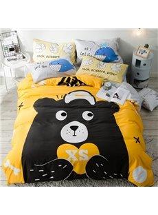 Cotton 4-Piece Cartoon Black Bear Pattern Kids Duvet Covers/Bedding Sets