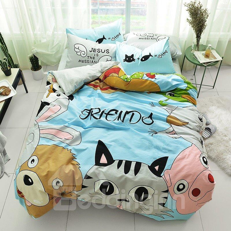 Cute Cartoon Animals Pattern Cotton 4-Piece Kids Duvet Covers/Bedding Sets
