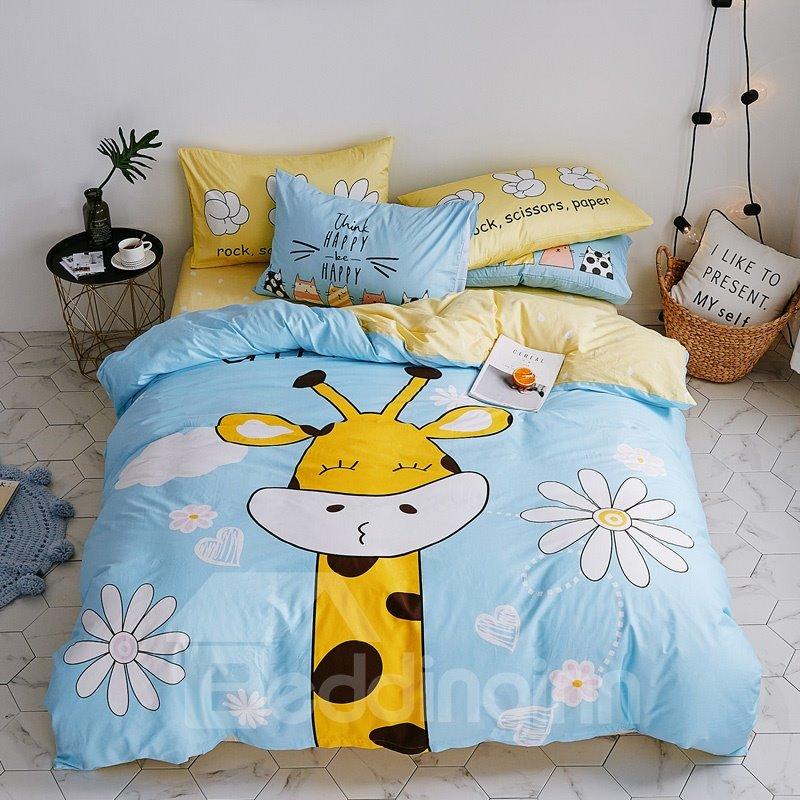 Cute Cotton Cartoon Giraffe Pattern 4-Piece Kids Duvet Covers/Bedding Sets