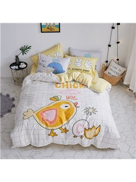 Cute Cartoon Chick Pattern Cotton 4-Piece Kids Duvet Covers/Bedding Sets
