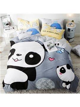Cartoon Panda Pattern Cotton 4-Piece Kids Duvet Covers/Bedding Sets
