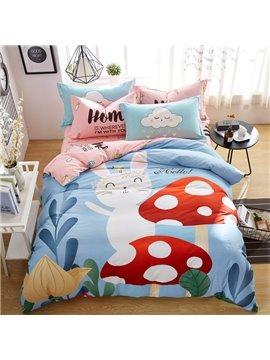 Cartoon Rabbit And Mushroom Pattern Cotton 4-Piece Kids Duvet Covers/Bedding Sets