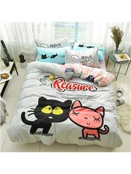 Cute Cartoon Two Cats Pattern Cotton 4-Piece Kids Duvet Covers/Bedding Sets