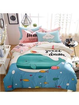Cute Cartoon Whale Pattern Cotton 4-Piece Kids Duvet Covers/Bedding Sets