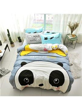 Funny Cartoon Panda Pattern Cotton 4-Piece Kids Duvet Covers/Bedding Sets