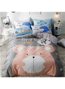 Cute Cartoon Bear Pattern Cotton 4-Piece Kids Duvet Covers/Bedding Sets