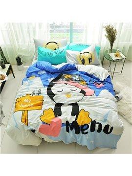 Cute Cartoon Penguin Pattern Cotton 4-Piece Kids Duvet Covers/Bedding Sets